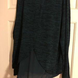 Dark green peek a boo back long sleeve top